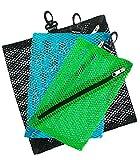 Vaultz Colored Mesh Storage Bags, 3 Bags per Pack (VZ00321), Mint/Black/Blue, 3 Sizes