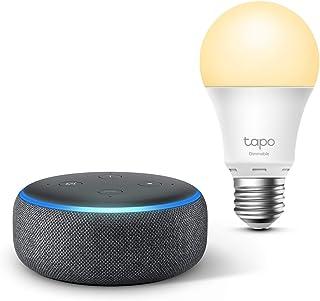 Echo Dot (3ª generazione), Tessuto antracite + TP-Link Tapo Lampadina Smart (E27), compatibile con Alexa