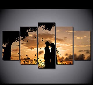 zmnba Sin Marco Canvas Wall Art Pictures Home Decor 5 Pieces Under The Tree Couple Sunset Shadow Landscape Paintings HD Prints Posters