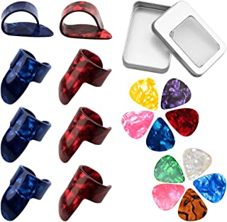 URlighting 8 Pcs Guitar Finger Picks Thumb Picks, 10 Pcs 2 Size Guitar Picks with Storage Box, Guitar Fingertip Protectors...