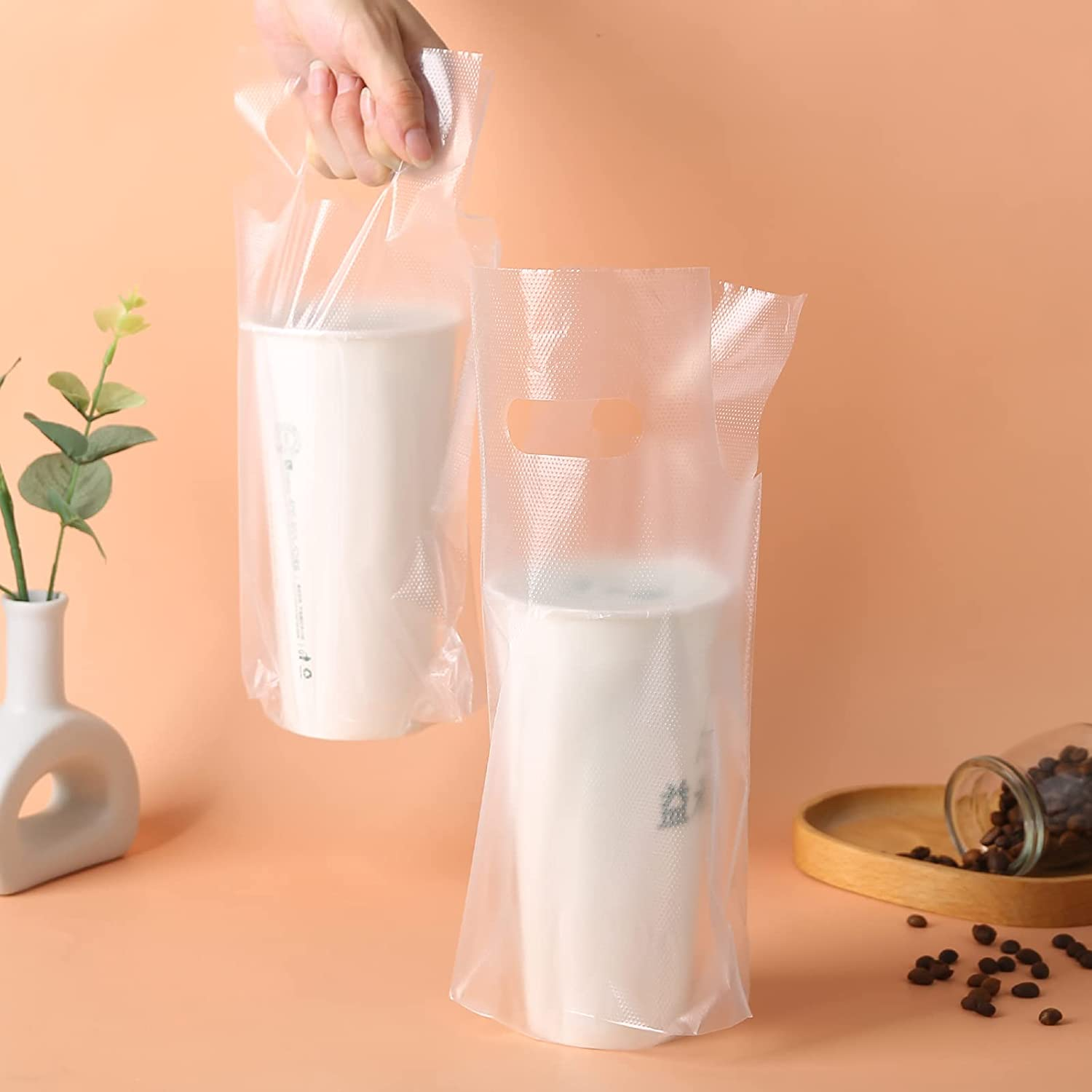 100PCS Clear Handle Drink Drinking Poly Plastic Packaging Bags,Drink Carrier, For Delivery Take Out Cup Holder Bar Restaurant Coffee Shop Supplies cup carriers (16x28cm)