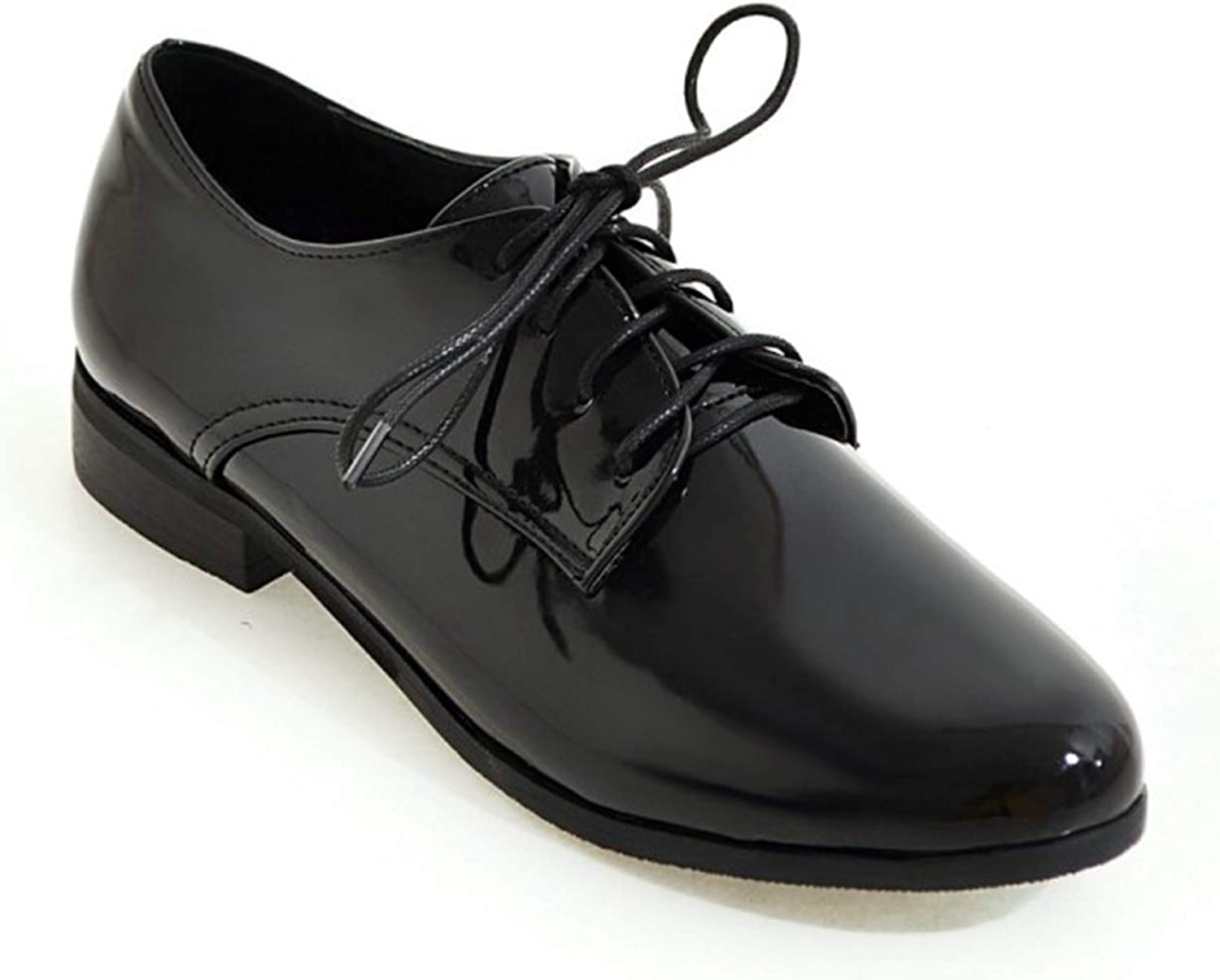Greuses Plus Size 34-50 Spring Women Oxford shoes Flats Loafers Ladies shoes Leather Lace Up Boat shoes Round Toe Flats