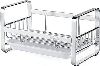 HULISEN Kitchen Sink Sponge Holder, 304 Stainless Steel Kitchen Soap Dispenser Caddy Organizer, Countertop Soap Dish Rack ...