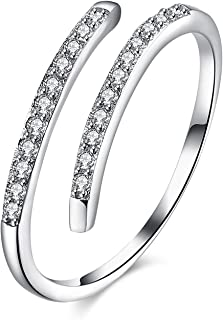 Engagement Wedding Band S925 Sterling Silver Double Row Rings Resistant Eternity Rings Vintage Fashion Jewelry Punk Ring for Lady Women Box Included