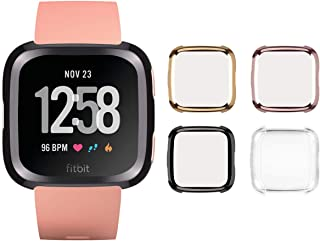 Tranesca Fitbit Versa Case with Built-in TPU Screen Protector for Fitbit Versa - 4 in a Pack (Black, Rose Gold, Gold, Clear)