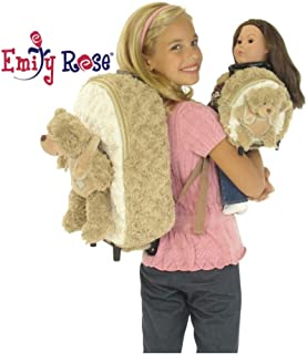 Emily Rose 18-inch Doll Luggage Clothes Storage   Girl Backpack and Doll Matching Backpack / Trolley Set with Detachable Teddy Bears   Fits American Girl Dolls