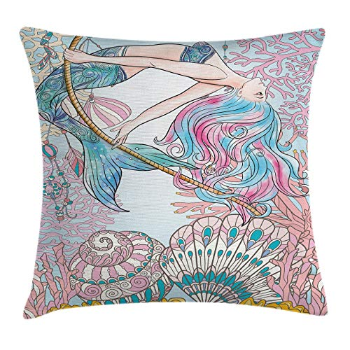Mermaid Throw Pillow Cushion Cover, Cartoon Mermaid in Sea Sirens of Greek Myth Female Human with Tail of Fish Image, Decorative Square Accent Pillow Case 18inch*18inch