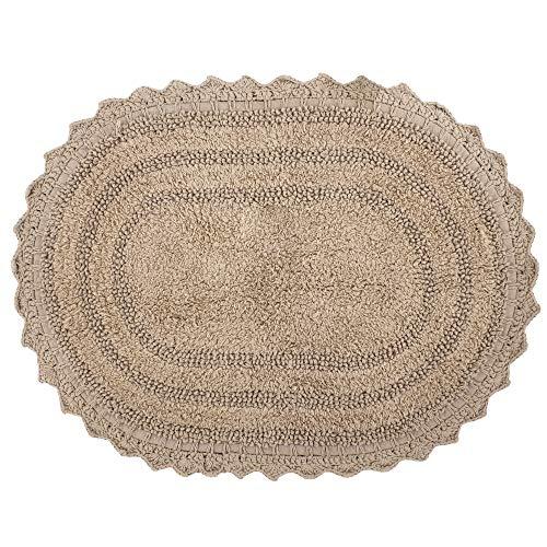 RAJRANG BRINGING RAJASTHAN TO YOU Badteppich Baumwolle - 61x43 cm weicher Baumwollteppich rutschfeste ovale Badematte für Badewanne WC Haustürdekoration ovale Fußmatte
