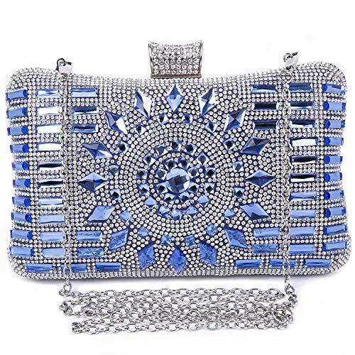 SYMALL Mujer Cartera de Mano Noche Rhinestone Satén Bolso Pequeño Fiesta Elegante Clutch Diamantes Cristales Hombro Cartera Bandolera Mini Bolso para Mujer Boda Cadena, Azul