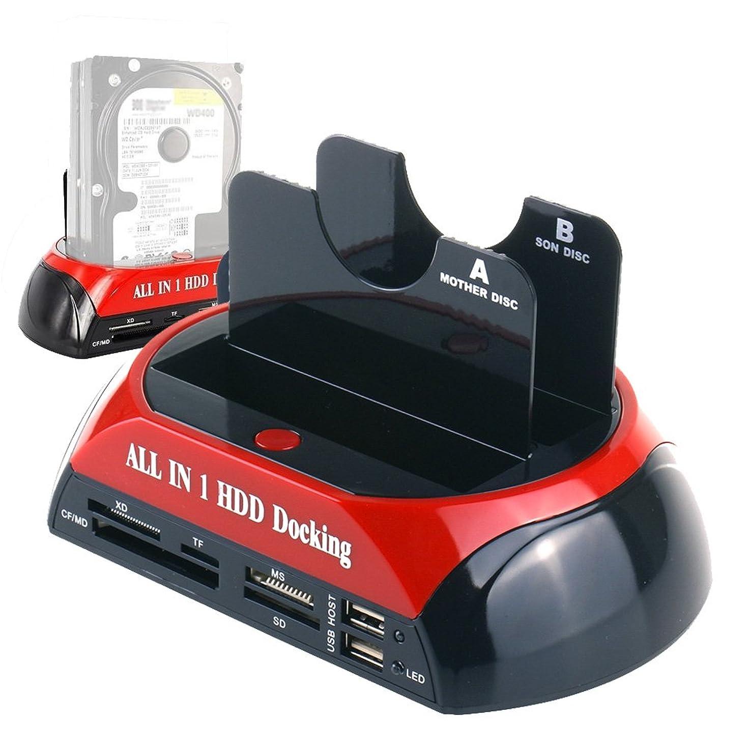 WANLONGXIN WLX-876U3SC USB 3.0 to SATA Dual Bay External Hard Drive Docking Station with Offline Clone Function and Card Reader USB Hub, for 2.5 3.5 Inch HDD SSD SATA I/II/III up to 2 x 8TB
