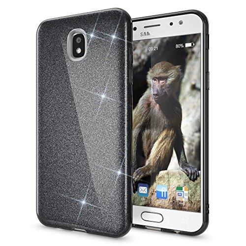 NALIA Purpurina Funda Compatible con Samsung Galaxy J7 2017 (EU), Carcasa Protectora Movil Silicona Ultra-Fina Glitter Gel Bumper, Lentejuela Cubierta Delgado Cover Slim Phone Case, Color:Negro