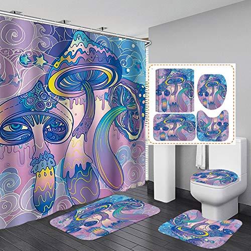 Fashion_Man 4PCS/Set Psychedelic Mushroom Shower Curtain with Rugs, Fantasy Hippie Trippy Art Bathroom Decor, Waterproof Polyester Fabric Bath Curtain Non-slip Bathroom Mat Bath Mat Toilet Rug, Purple