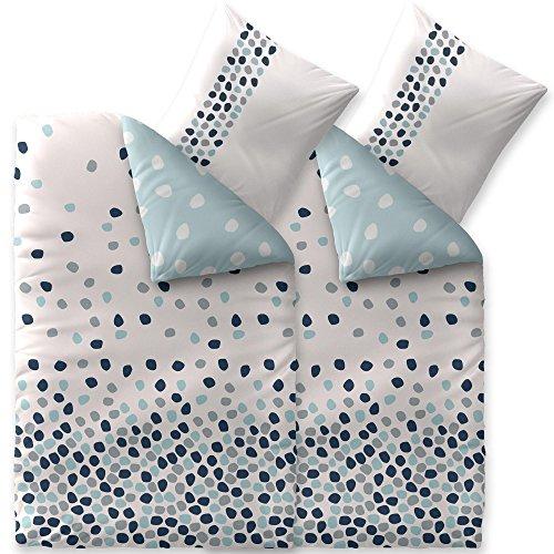 CelinaTex Fashion Bettwäsche 200 x 220 cm 3teilig Baumwolle Iris Punkte Weiß Blau Grau