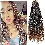 Goddess Crochet Box Braids Hair 8 packs 14 Inch 3X Bohemian Braiding Hair Three Braids River Hair Extension With Wig Decoration Button and Crochet for Black Women,Female (T1B/30)