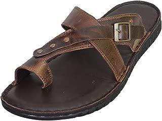 Mardi Gras Men's Brown Leather Outdoor Sandals