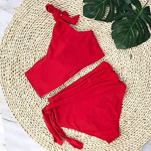 XUANYA Bañador Mujer bañador Rojo Simple One-Shoulder Conjunto Bikini Beach Verano Bañadores Bañador bañador Doble Push Up,S