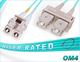 FiberCablesDirect - 1M OM4 LC SC Fiber Patch Cable | 100Gb Duplex 50/125 LC to SC Multimode Jumper 1 Meter (3.28ft) | Length Options: 0.5M-300M | 10/40/100g mmf dx lc/sc 100gbase Aqua ofnr om4-lc-sc