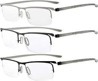 Eyekepper 3 Pairs Half-Rim Reading Glasses Unique Design Frame Reader Eyeglasses for Men Women Reading +3.00