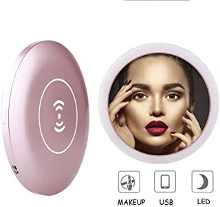 BMJ&C Magnifying Mirror with Lights Charging Wireless Led Makeup Mirror Adjustable Women's Party Travel Makeup Mirror Birthday Gift Mirror,Pink