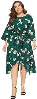 Floral Printed Summer Dress Long Dresses Elegant Women O-Neck Long Sleeve Party Dress
