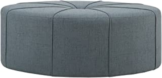 Madison Park Ferris Coffee Table Oval-Solid Wood, Polyester Fabric Modern Style Large Ottoman, Blue