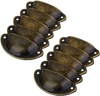 Tinksky Set of 10pcs Vintage Decorative Door Drawer Pull Handle Iron Semicircle Knobs (Bronze)