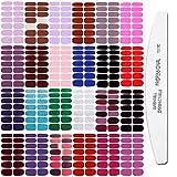 JERCLITY 24 tiras de esmalte de uñas de color sólido con purpurina, pegatinas de gel para uñas con 1 lima de uñas para mujeres y niñas