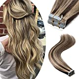 Tape in Remy Hair Extensions 100% Human Hair 18' 100g 40pcs Long Straight Seamless Skin Weft Glue in Human Hairpieces Highlight #4/27 Medium Brown Mix Dark Blonde Balayage Hair