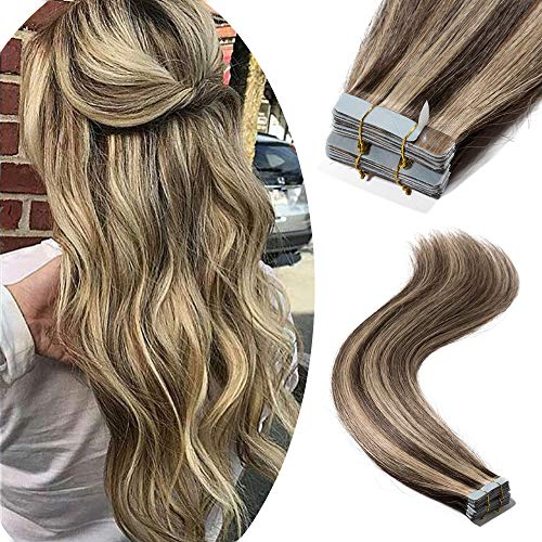 """Tape in Remy Hair Extensions 100% Human Hair 18"""" 100g 40pcs Long Straight Seamless Skin Weft Glue in Human Hairpieces Highlight #4/27 Medium Brown Mix Dark Blonde Balayage Hair"""