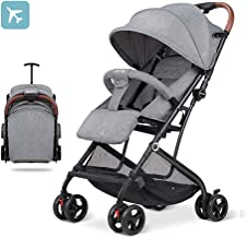 2019 Baby Stroller,Lightweight Compact Travel Stroller - One Hand Fold,Umbrella Stroller,Linen Fabric,Full Recline Up 170° - Baby Can Sit Or Lie Down, Pull Handle, Can Take It On The Airplane (Grey)