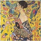 Lienzo De Impresión 60x90cm Sin Marco Pintura al óleo de Klimt, señora con ventilador, decoración del hogar, póster de pared, cuadros de pintura famosa clásica