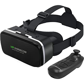 VR Headset with Remote Controller 3D Glasses Goggles HD Virtual Reality Headset Compatible with iPhone & Android Phone Eye Protected Soft & Comfortable Adjustable Distance for Phones 4.7-6.53""