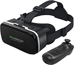 VR SHINECON Headset with Remote Controller 3D Glasses Goggles HD Virtual Reality Headset Compatible with iPhone & Android ...