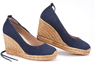 Nailyhome Womens Espadrille Wedge Sandals Slip On Closed Toe High Heels Summer Pumps