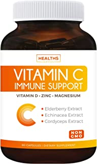 Immune Support - Vitamin C with Zinc, Vitamin D, Elderberry & Echinacea (Non-GMO) Immune System Booster Supplement - VIT C...