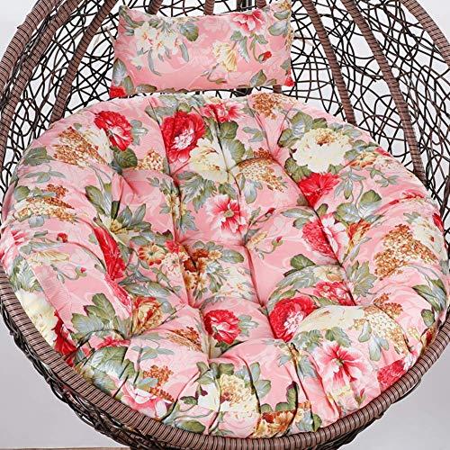 LLKK Cojín colgante para silla de huevo sin soporte, cojín para silla de columpio de patio para exterior Papasan colgante cesta cojín con almohada