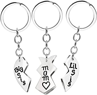 3pcs Mother Daughter Key Chain Mom Big Sister Little Sister Stainless Steel