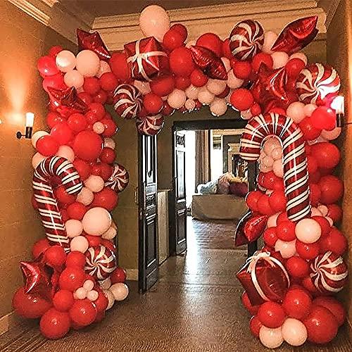 LIZHIOO Kit De Arco De Globo, Guirnalda De Navidad Guirnalda Kit De Arco 144 Piezas con Navidad Rojo Blanco Candy Balloons Regalo Caja De Regalo Globos Globos De Estrella Roja