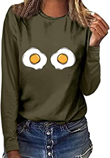 Womens Graphic Long Sleeve T Shirts Poached Egg/Cat Print Blouse Round Neck Sunflower Funny Tees Tops