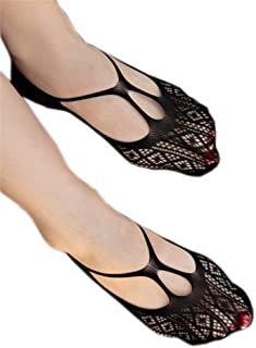 AnVei-Nao Womens Sexy Hollow Nets Fishnet Stockings Low Cut Ped Socks 4 Pairs
