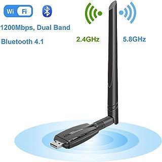 iFun4U Wireless USB WiFi Bluetooth Adapter, WiFi Network Adapter&Bluetooth 4.1 Transmitter LAN Card AC1200 Dual Band 2.4G/300Mbps+5.8G/867Mbp External Antenna for Desktop/Laptop/PC