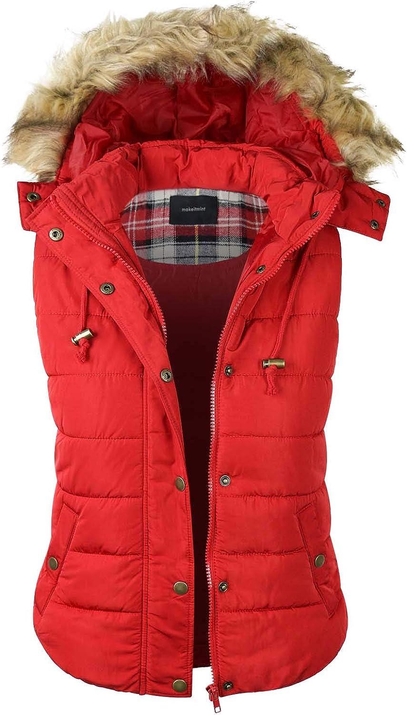 Makeitmint Women's Detachable Hoodie Faux Fur Comfy Padded Vest w Pockets