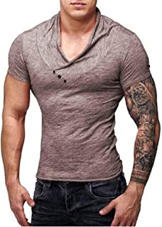 neveraway Mens Short Sleeve V-Neck Button Slim Muscle Tops Tee T- Shirts
