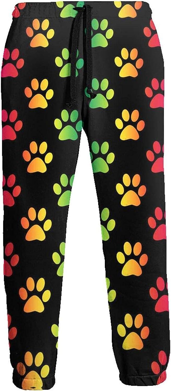 Men's Women's Sweatpants Rainbow Dog Footprints Athletic Running Pants Workout Jogger Sports Pant