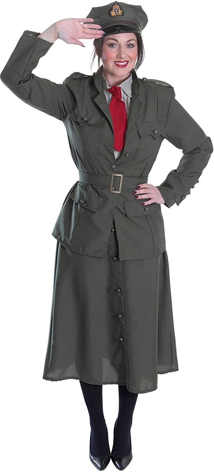 Ladies 5 Piece WW1 Army Officer Military Armed Forces Fancy Dress Costume Outfit UK 101214