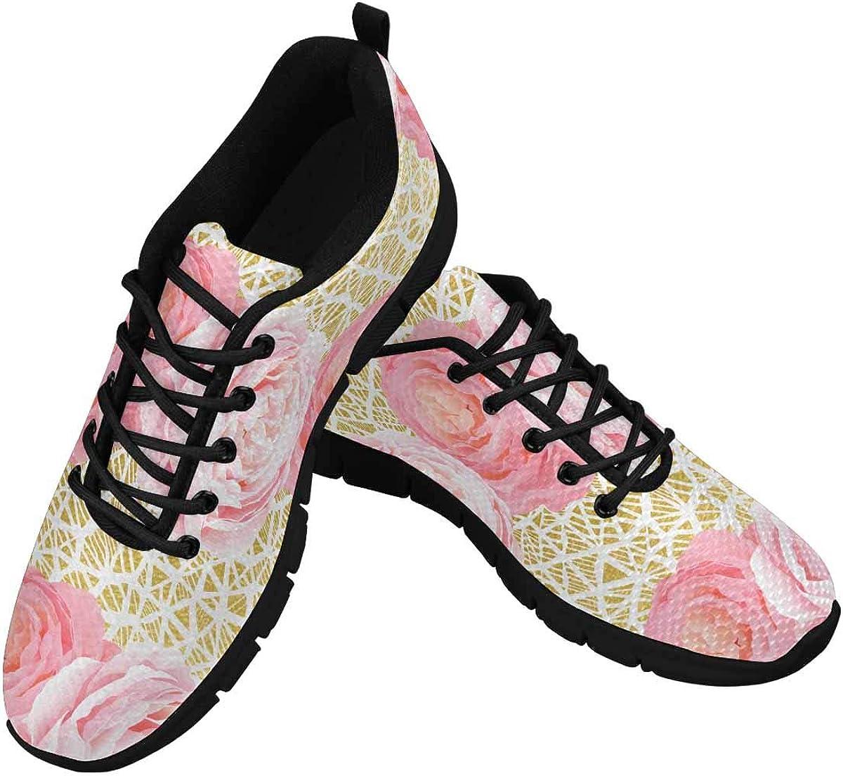 INTERESTPRINT Elegance Light Pink Roses Women's Breathable Non Slip Sneakers