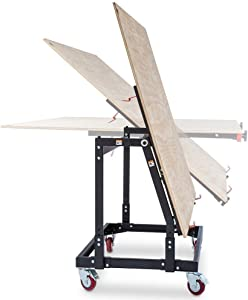 """Rockler Material Mate Panel Cart and Shop Stand – Mobile Base Stand Contains Smooth Rolling 4"""" Casters – Mobile Workbench for Tools - Rigid Steel Frame Construction – Woodworking Tools and Accessories"""