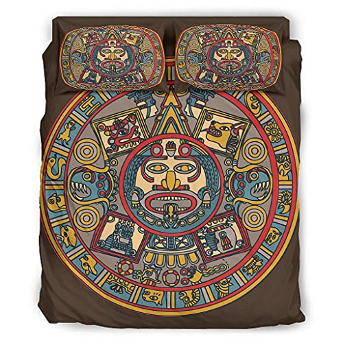 STELULI 4 Piece Bed Set Ancient Incan Mayan Novelty Skin-Friendly Theme - Bed Cover white 203x230cm