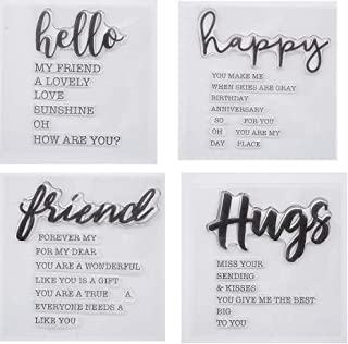 Welcome to Joyful 4pcs/Set Hello Happy Hugs Friend Sentiment Background Clear Stamp for Card Making Decoration and Scrapbo...