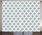 ABAKUHAUS Tatuaje Cortinas, Acuarela Viajes Brújula, Sala de Estar Dormitorio Cortinas Ventana Set de Dos Paños, 280 x 245 cm, Azul Negro Amarillo
